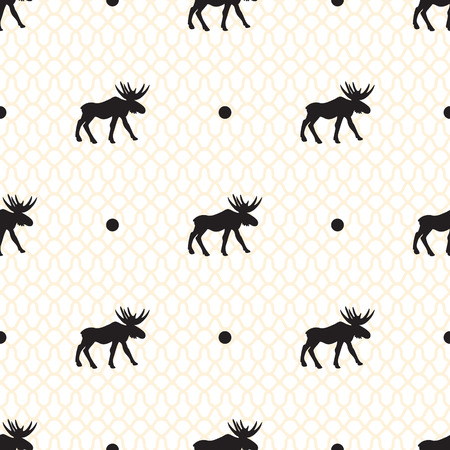 subtle: Deer vector seamless pattern with retro dots and subtle veil. Black moose hipster silhouettes.