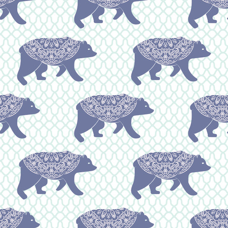 encajes: Blue bear vector seamless pattern. Christmas forest blue animal  with decoration on openwork texture.