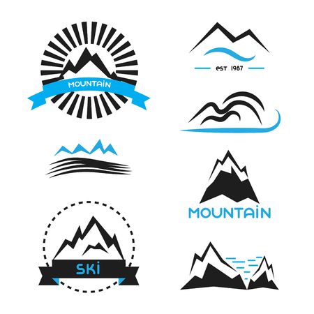resorts: Mountain badge vector elements set. icon concepts, brand identity stickers for outdoor extremalsport, ski resorts, hiking club, camping label.