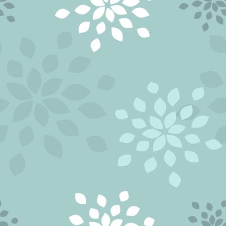 Stylized flower seamless pattern. Petals blue textile fabric design.