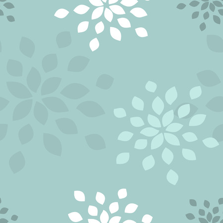 Stylized flower seamless pattern. Petals blue textile fabric design.