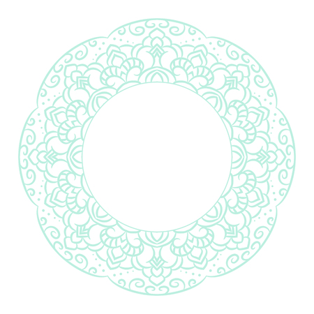 baby blue: Baby blue mandala circle rosette card template background. Swirl frame boho floral ornament. Copy space for text.