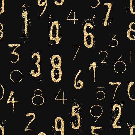 Numeral seamless gold pattern with glitter sparkle surface. Shimmer sequins digit black background.