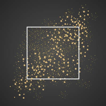 Gold sparkles and stars with white frame on black background. Glitter shimmery cosmic sky for card template, greetings, thank you cards. Copy-space for lettering text. Gold star dust vector. Çizim
