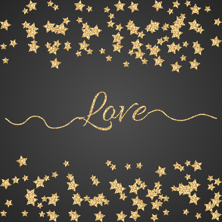 shimmer: Valentines Day glitter shimmer card background. Gold love word with confetti border on black and swashes.