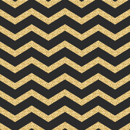 crankle: Classic chevron stripe glitter shimmer seamless vector pattern. Geometric zigzag line gold foil wrap event paper for holiday gift cards. Gold on black paper. Illustration