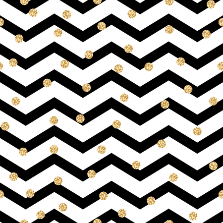 Chevron zigzag black and white seamless pattern with golden shimmer polka dots. Vector geometric monochrome stripe with glitter spots.