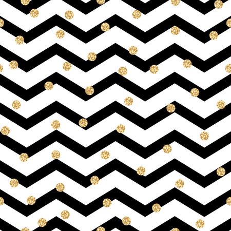 blanco: Modelo blanco y negro del galón del zigzag transparente con lunares de oro del reflejo. Geométrica del vector de la raya blanco y negro con manchas de brillo.