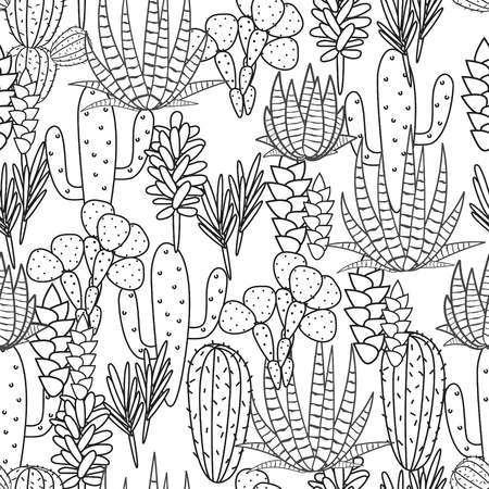 cactus cartoon: Succulents cacti plant vector seamless pattern. Botanical black and white line desert flora fabric print. Home garden cartoon cactuses for wallpaper, curtain, tablecloth, coloring page.