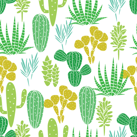 Succulents cacti plant vector seamless pattern. Botanical desert flora fabric print. Home garden cartoon cactuses for wallpaper, curtain, tablecloth.