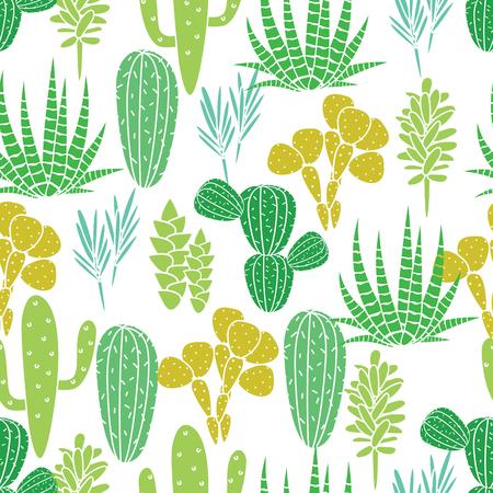 Succulents cacti plant vector seamless pattern. Botanical desert flora fabric print. Home garden cartoon cactuses for wallpaper, curtain, tablecloth.