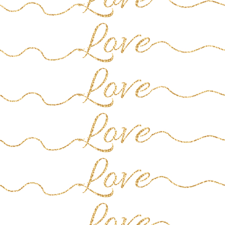felicitation: Valentines Day glitter shimmer card background. Gold love word seamless pattern on white. Lettering underline swashes pattern. Illustration