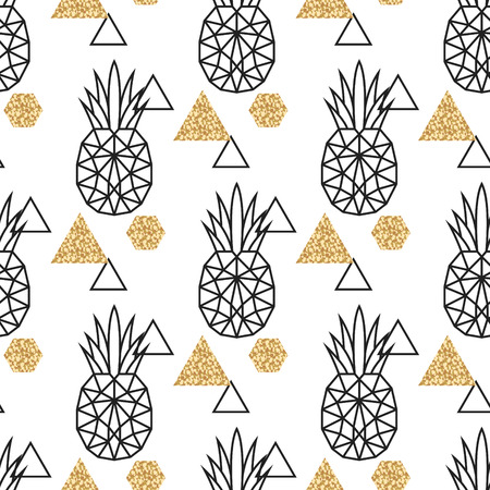 Line geometric pineapple and gold shimmer dot shapes seamless vector pattern. Low poly fruit abstract background for print, textile fabric, invitation card and wall decor.