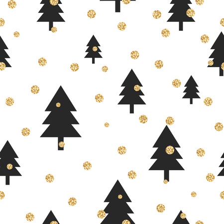 yellow card: Gold shimmer glitter polka dot and black tree seamless pattern. Vector foil abstract circles texture. Sparkle balls forest background. Illustration