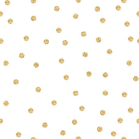 골드 쉬머 반짝이 폴카 원활한 패턴을 도트. 벡터 포일 추상 원 텍스처입니다. 스파클 공 배경. 일러스트