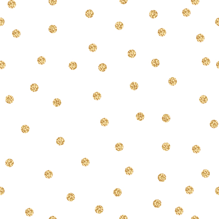 shimmer: Gold shimmer glitter polka dot seamless pattern. Vector foil abstract circles texture. Sparkle balls background.