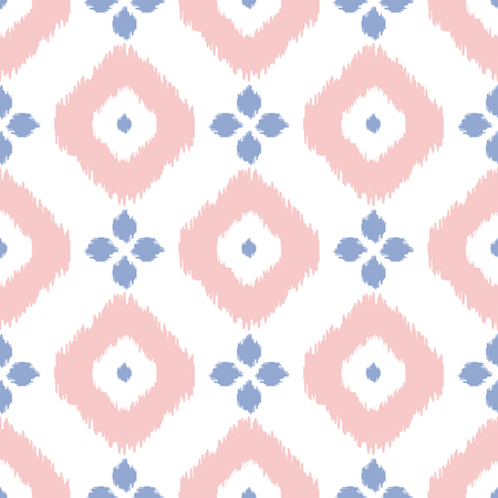pantone: Geometric seamless pattern in pantone color of the year 2016. Abstract simple ikat design. Rose quartz and serenity violet colors.