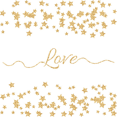 serpentines: Valentines Day glitter shimmer card background. Gold love word with confetti border and swashes on white. Illustration