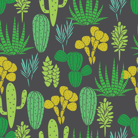 home garden: Succulents cacti plant vector seamless pattern. Botanical black and green desert flora fabric print. Home garden cartoon cactuses for wallpaper, curtain, tablecloth. Illustration