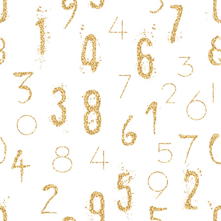 shimmer: Numeral seamless gold pattern with glitter sparkle surface. Shimmer sequins digit white background.