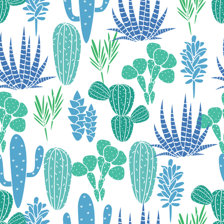 desert: Succulents cacti plant vector seamless pattern. Botanical blue and green desert flora fabric print. Home garden cartoon cactuses for wallpaper, curtain, tablecloth.