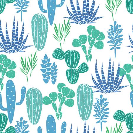 Vetplanten cactussen plant vector naadloos patroon. Botanische blauwe en groene woestijn flora weefsel af te drukken. Huis tuin cartoon cactussen voor behang, gordijnen, tafelkleed.