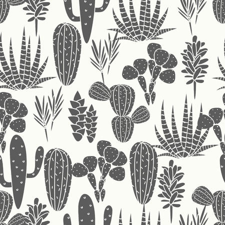 Succulents cacti plant vector seamless pattern. Botanical black and white desert flora fabric print. Home garden cartoon cactuses for wallpaper, curtain, tablecloth. Ilustração