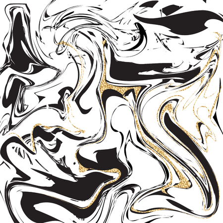 Marble texture vector abstract background. Liquid agate messy design black, white, blue and shimmer gold colors.