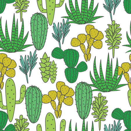 Succulents cacti plant vector seamless pattern. Botanical green on white desert flora fabric print. Home garden cartoon cactuses for wallpaper, curtain, tablecloth.