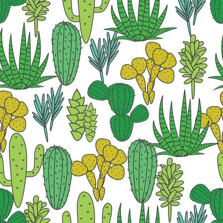 home garden: Succulents cacti plant vector seamless pattern. Botanical green on white desert flora fabric print. Home garden cartoon cactuses for wallpaper, curtain, tablecloth.
