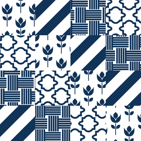 Patchwork quilt vector pattern tiles. Dark turquoise and white square indian textile fabric prints. Seamless blue classic patch ceramic tile design. Çizim