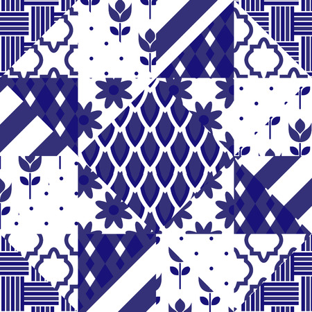 ceramic floor: Patchwork quilt vector pattern tiles. Blue indigo and white portuguese or moroccan arabic ceramic floor tiles. Illustration