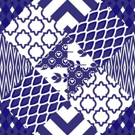 patchwork quilt: Patchwork quilt vector pattern tiles. Blue indigo and white portuguese or moroccan arabic ceramic floor rhombus tiles.