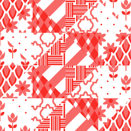 patchwork quilt: Patchwork quilt vector pattern tiles. Red and white triangle tiles fabric print. Traditional classic vintage design for bed linen or kitchen table cloth. Illustration