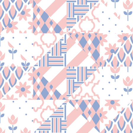 patchwork quilt: Patchwork quilt vector pattern tiles. Rose quartz and serenity violet color square and triangle tiles. Trendy colors of 2016. Chevron, tulip and twist set.