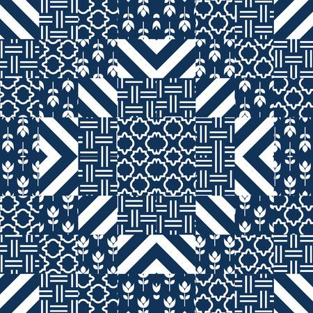 turquesa: azulejos vector patr�n del edred�n de remiendo. turquesa oscuro y blancos cuadrados grabados indios tela textil. azul parche cl�sico del dise�o sin fisuras de baldosas de cer�mica.