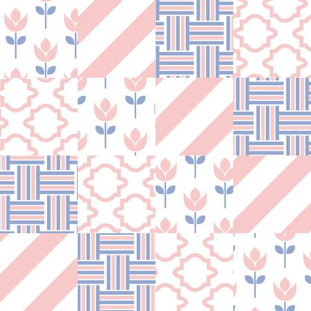 batik: Carreaux mod�le vectoriel Patchwork de courtepointe. Couleur rose violet carreaux de quartz et de s�r�nit�. Couleurs � la mode de 2016. Chevron, tulipe et le jeu de torsion.