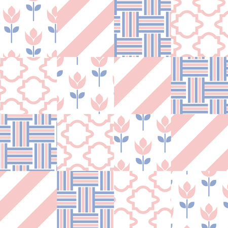 batik: Patchwork quilt vector pattern tiles. Rose quartz and serenity violet color square tiles. Trendy colors of 2016. Chevron, tulip and twist set.