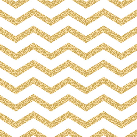 shimmer: Classic chevron stripe glitter shimmer seamless vector pattern. Geometric zigzag line gold foil wrap event paper for holiday gift cards. Gold on white paper.