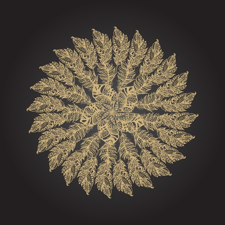 openwork: Gold feather hand drawn round rosette on black background. Ethnic ink openwork tribal feathers, stylized in vintage boho style.
