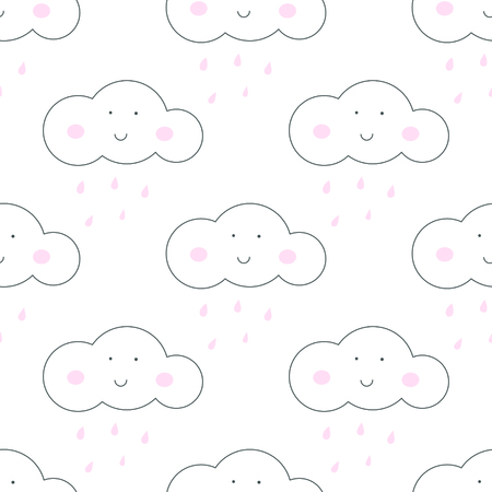 kids fun: Baby vector seamless pattern. Light fun sky print for textile fabric. Kids room decor stickers for wall, furniture, surfaces. Illustration