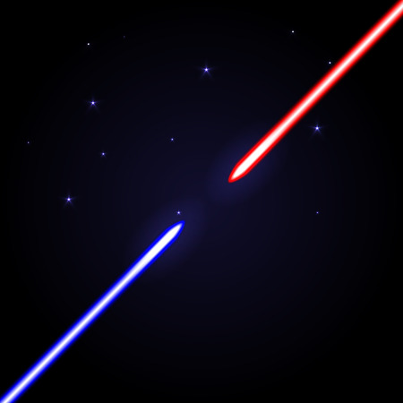 opposed: Two glowing swords opposed to each other on cosmic dark blue background with stars. Red and blue light shiny weapon as war symbol.