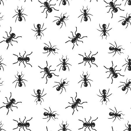 Vector seamless ant colony insect pattern. Black and white scandinavian style fauna design. Hand drawn ink doodle creatures.