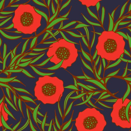 papaver: Poppy flower vector seamless pattern. Hand drawn doodle ink floral textile fabric print. Red poppies and green branch leaves natural design on dark blue background. Illustration