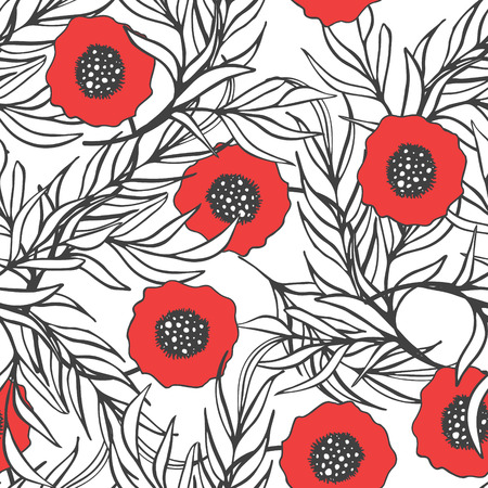 accent: Poppy flower vector seamless pattern. Hand drawn doodle ink floral textile fabric print. Red poppies and monochrome branch leaves natural design. Black and white with accent color.