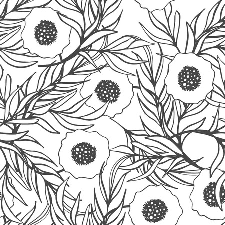 papaver: Poppy flower vector seamless pattern. Hand drawn doodle ink floral textile fabric print. Black and white drawing poppies and branch leaves natural design.