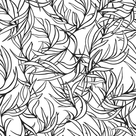 nature pattern: Natural leaves vector seamless pattern. Hand drawn tree branches. Ink doodle botanical print. Black and white monochrome coloring page background.