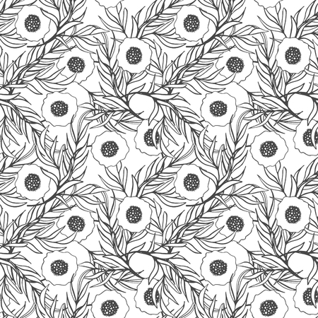 papaver: Poppy flower vector seamless pattern. Hand drawn doodle ink floral textile fabric print. Black and white drawing poppies and branch leaves natural design. Coloring page. Illustration