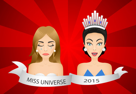 beauty contest: Miss universe 2015 contest. Wrong winner. Beauty  contestants. Crying girl and surprised girl.
