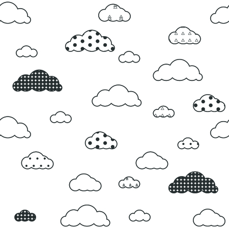 Baby vector seamless pattern. Light fun sky print for textile fabric. Kids room decor stickers for wall, furniture, surfaces. 向量圖像